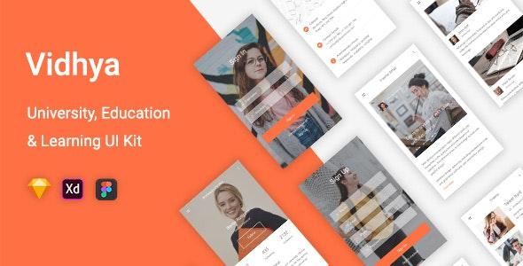 Vidhya - University, Education & Learning UI Kit for Sketch