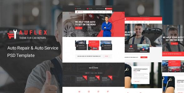 Auflex - Car Repairing & Servicing PSD Template - Business Corporate
