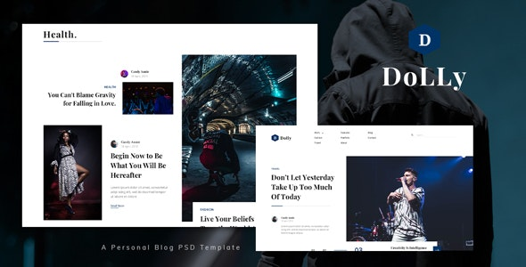 Dolly - Personal Blog PSD Template - Personal Photoshop