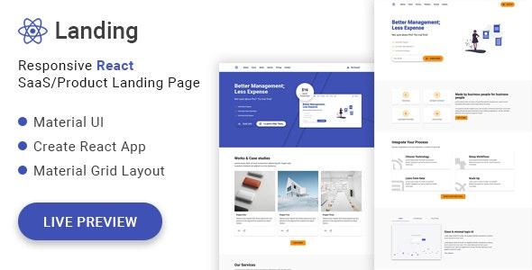 React Landing - Material UI React SaaS/Product Landing Page - Software Technology
