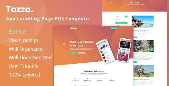 Tazza - App Landing Page PSD Template - Software Technology