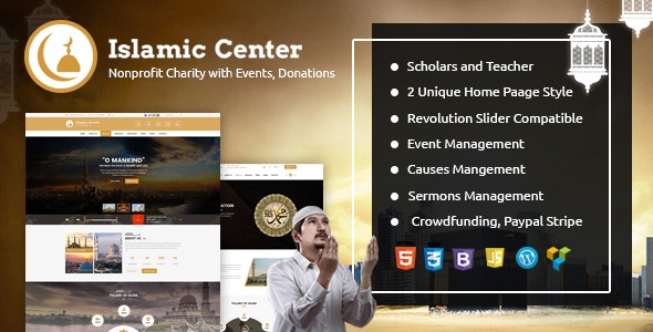 Islamic Center WordPress Theme - Hijri Calendar - Nonprofit WordPress