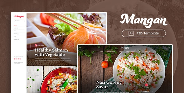 Mangan - Food Recipe Sharing PSD Template - Food Retail