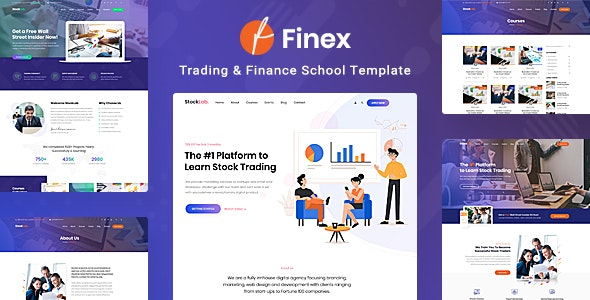Finex - Trading and Finance School PSD Template - Business Corporate