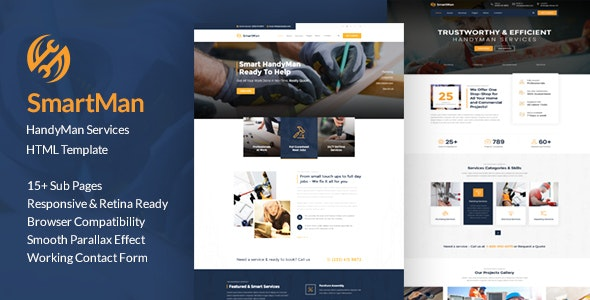 Smartman - Handyman Renovation Services HTML Template - Business Corporate