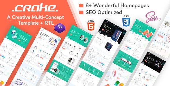 Crake | Multi-Concept Landing Page HTML Template - Software Technology