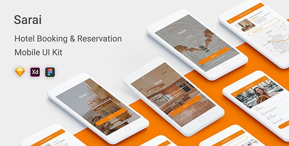 Sarai - Hotel Booking & Reservation Mobile UI Kit - Sketch Templates