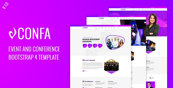 Confa - Event And Conference bootstrap 4 template nulled theme download