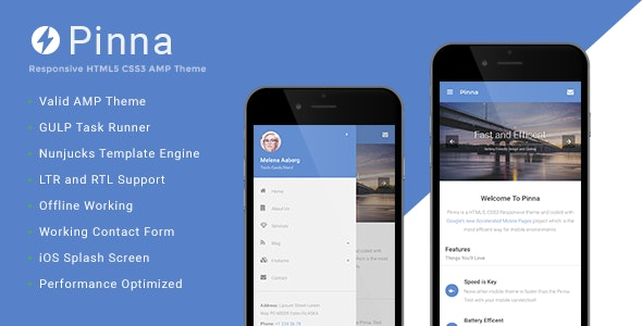 Pinna - Google AMP Template - Mobile Site Templates