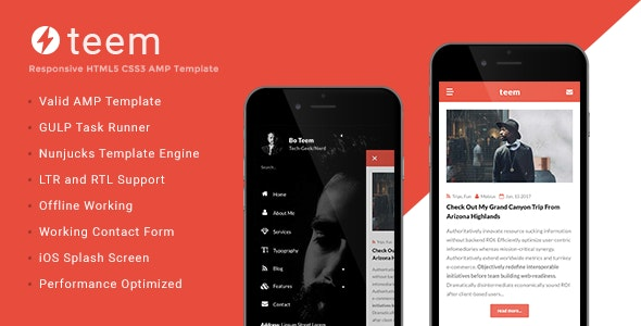 teem - AMP Blogging Template - Mobile Site Templates
