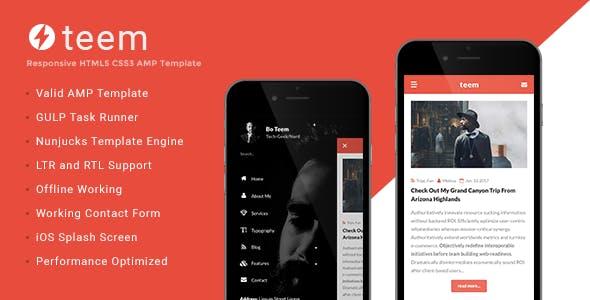 teem - AMP Blogging Template