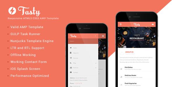 Tasty - AMP Restaurant Template - Mobile Site Templates