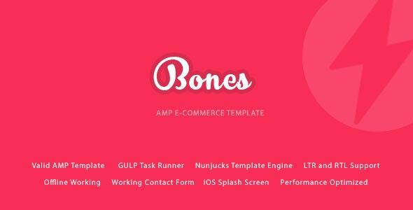 Bones - AMP E-Commerce Mobile Template - Mobile Site Templates