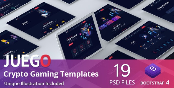 Juego - CryptoGaming Website PSD Templates - Technology Photoshop