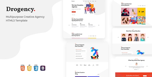 Drogency | Multipurpose Creative Agency HTML5 Template - Business Corporate