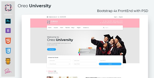 Oreo University - Bootstrap4 template with PSD - Business Corporate