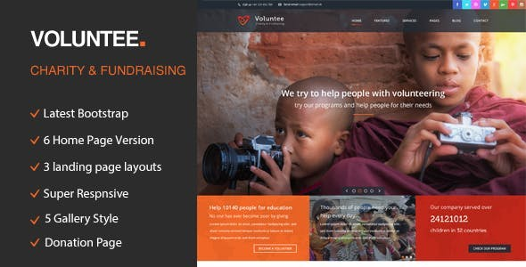Volunteer - Responsive HTML Template for Charity & Fund Raising
