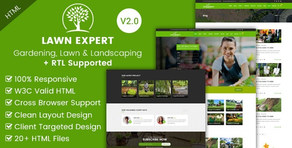 Lawn Expert - Gardening and Landscaping HTML Template - Business Corporate