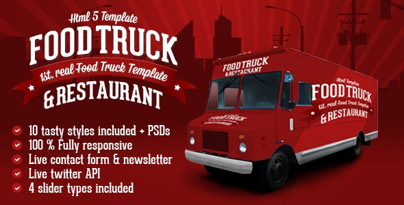 Food Truck & Restaurant 10 Styles - HTML5 Template - Restaurants & Cafes Entertainment