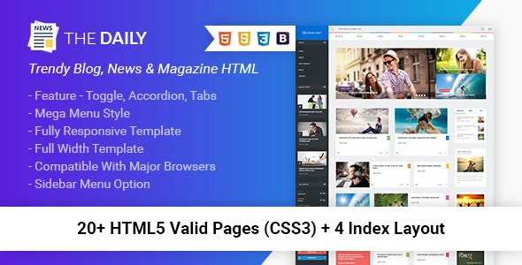 The Daily - News HTML Template - Entertainment Site Templates