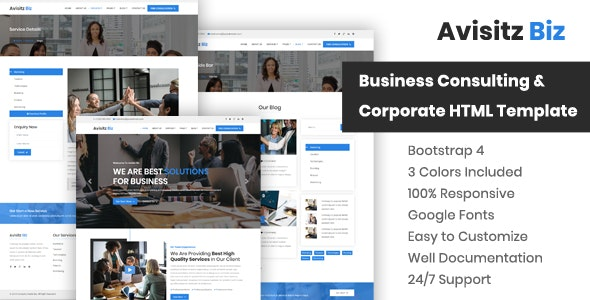 Avisitz Biz - Corporate Business HTML5 Template - Business Corporate