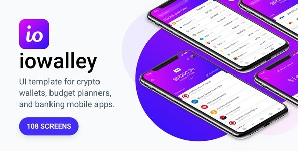 IOWalley - Mobile UI kit for Banking Apps & Crypto Wallets - Corporate Sketch