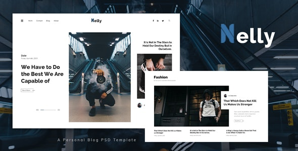 Nelly - Personal Blog PSD Template - Personal Photoshop