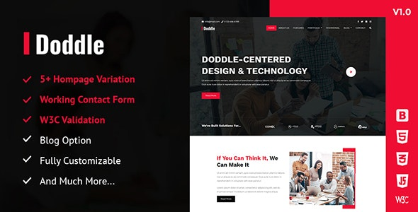 Doddle - A Creative Digital Agency Responsive HTML5 Template - Corporate Site Templates