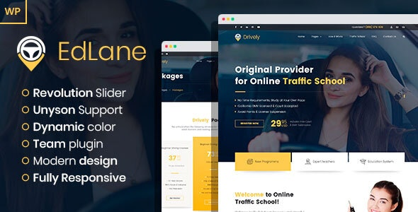 EdLane - Driving School WordPress theme - Business Corporate