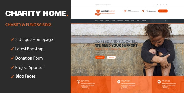 Charity Home - Responsive HTML Template for Fund Raising - Charity Nonprofit