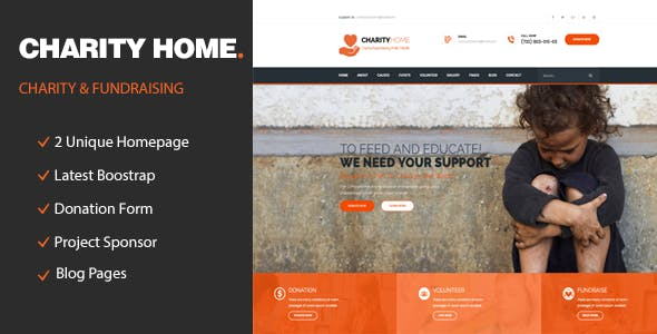 Charity Home - Responsive HTML Template for Fund Raising