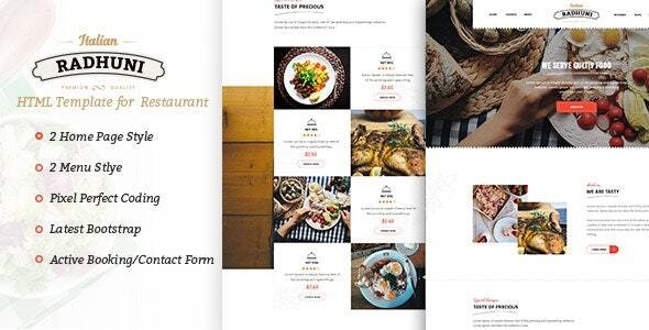 Italian Radhuni - Food & Resturant HTML Template - Restaurants & Cafes Entertainment