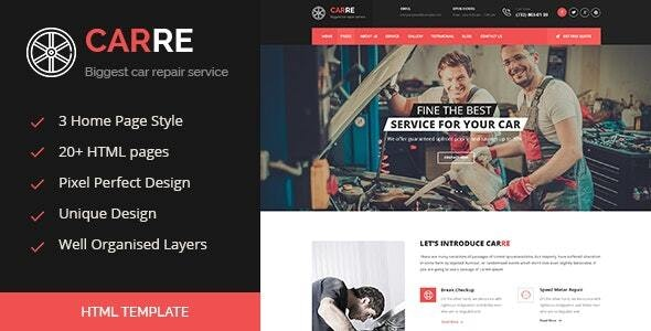 Car RE - Auto Mechanic & Car Repair HTML Template - Business Corporate