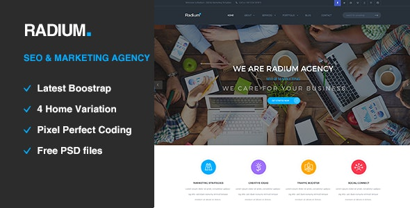 Radium - SEO /Digital Agency HTML5 Template - Portfolio Creative