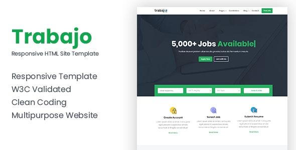Trabajo - Responsive Job Portal Website Template - Corporate Site Templates