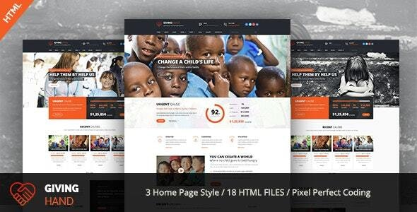 Giving Hand - Responsive HTML Template for Charity & Fund Raising - Charity Nonprofit