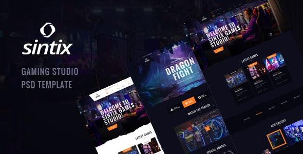 Sintix - Gaming Studio PSD Template - Entertainment PSD Templates