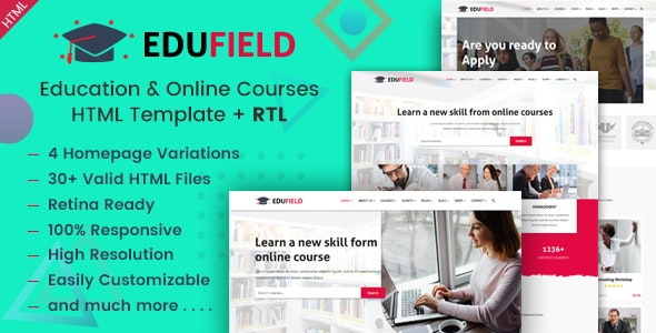 EduField - Education and Online Courses HTML Template - Business Corporate