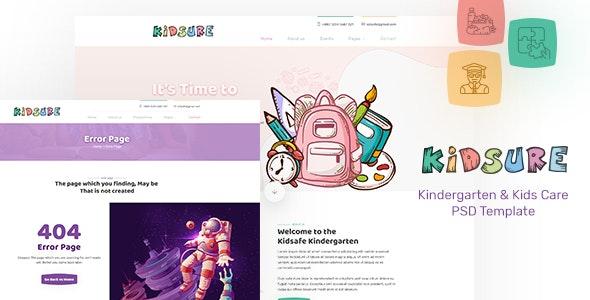 KIDSURE - Kindergarten & Kids Care PSD Template - Children Retail