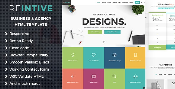 Reintive - Agency Business Responsive Bootstrap 4 Landing Page Template - Marketing Corporate