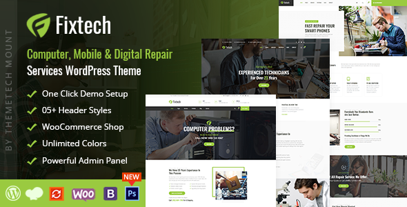 Fixtech - Computer & Mobile Repair Services WordPress Theme - Technology WordPress