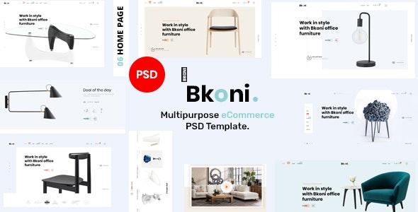 Bkoni - Multipurpose minimal e-Commerce PSD Template - Retail PSD Templates