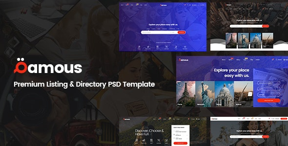 Qamous - Directory & Listing PSD Template - Corporate PSD Templates