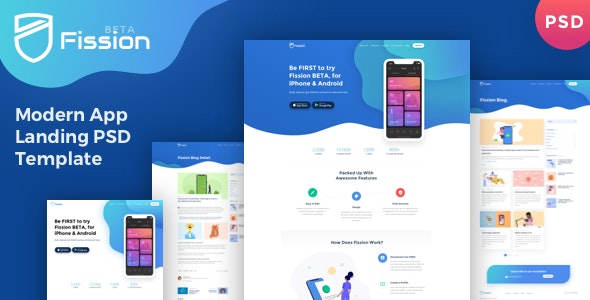 Fission - App Landing Page PSD Template - Technology PSD Templates