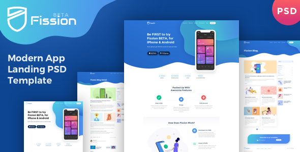 Fission - One Page App Landing Page PSD Template - Technology PSD Templates
