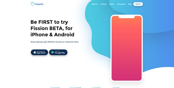 Fission - App Landing Page PSD Template