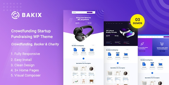 Bakix - Crowdfunding Startup Fundraising  WordPress Theme - Charity Nonprofit