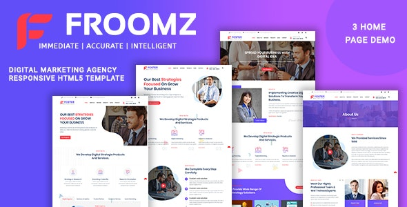 Froomz - Digital Marketing Agency Responsive HTML5 Template - Business Corporate