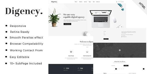 Digency - Minimal Digital Agency HTML Template - Business Corporate