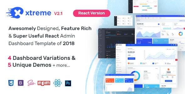 Xtreme React Admin Template - Admin Templates Site Templates